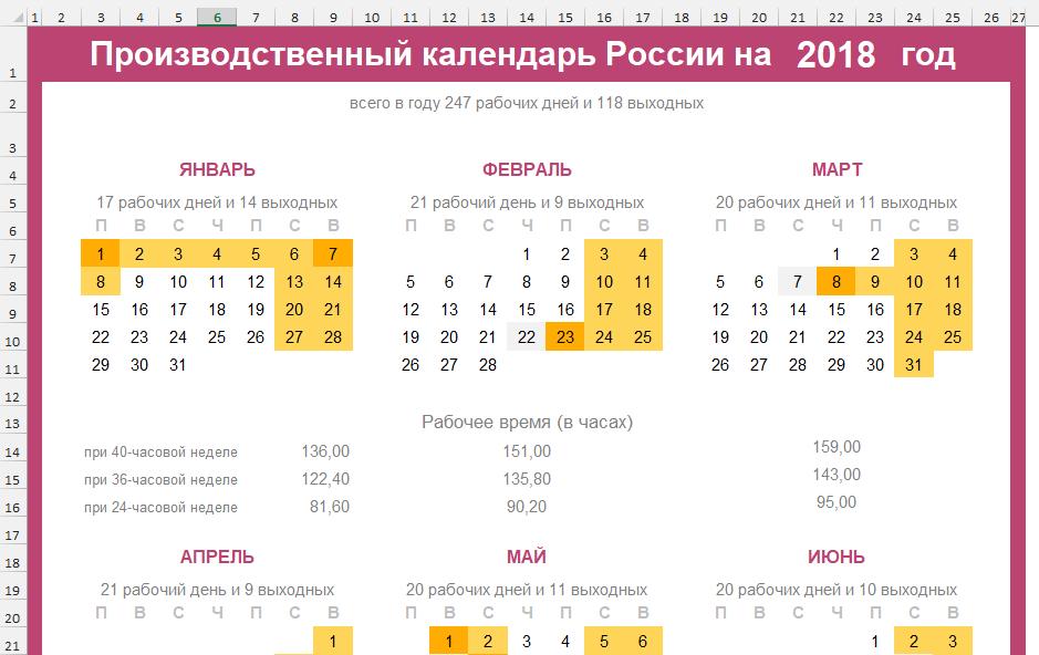 Правительство на 2018 год утвердило производственный календарь