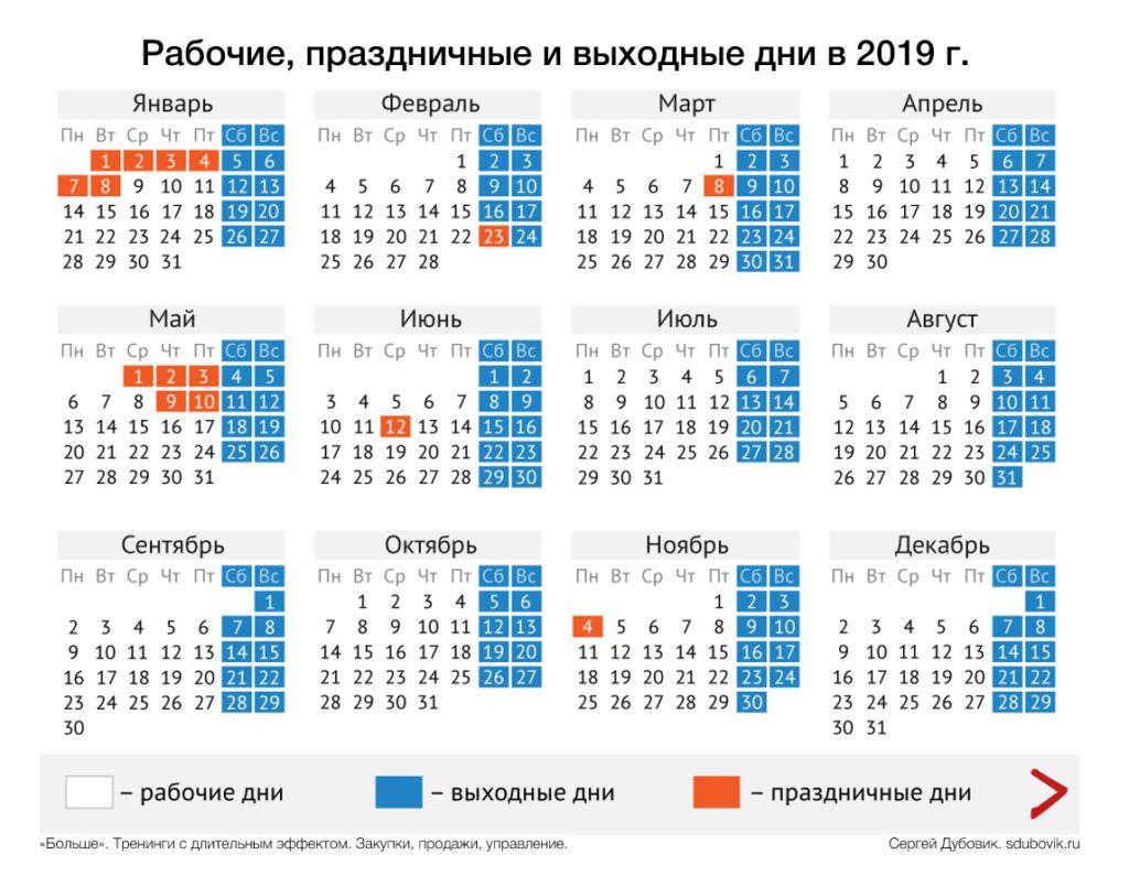 Табель-календарь на 2019 год с рабочими, праздничными и выходными днями.